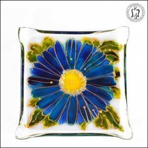 Skleněný svícen - Gerbera modrá (svícínek, sklo)