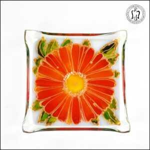 Skleněný svícen - Gerbera oranžová (svícínek, sklo)