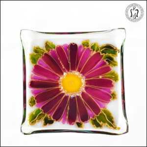 Skleněný svícen - Gerbera tmavě růžová (svícínek, sklo)
