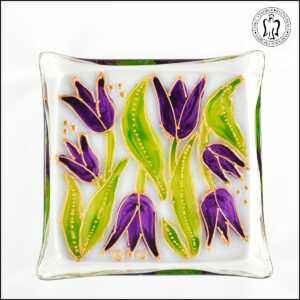 Skleněný svícen - Tulipány fialové (svícínek, sklo)