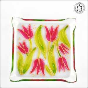 Skleněný svícen - Tulipány růžové (svícínek, sklo)