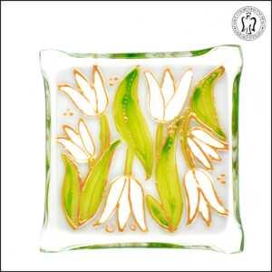 Skleněný svícen - Tulipány smetanové (svícínek, sklo)