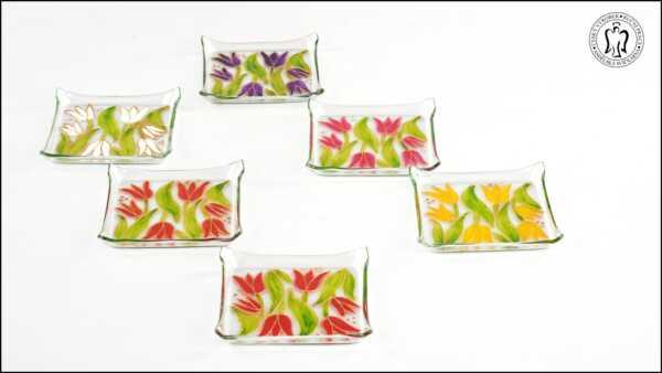 Skleněný svícen - Tulipány (svícínek, sklo)
