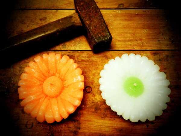 Velká plovoucí svíčka, Gerbera bílo-zelená, Andělské svíčky