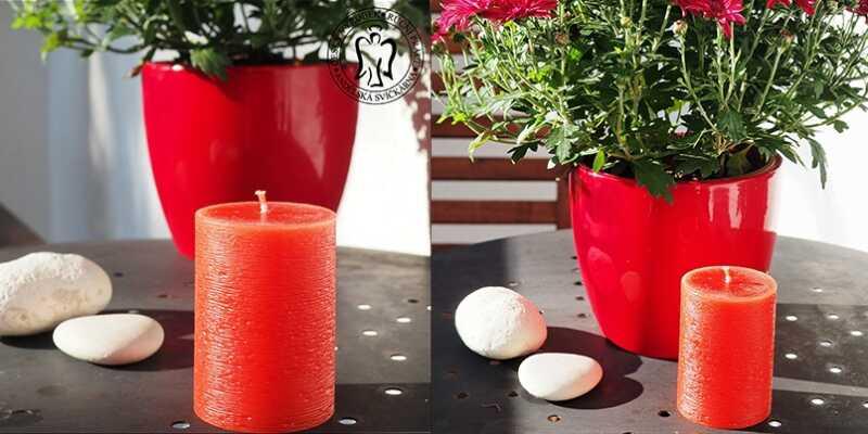 Svíčka, válec červený, svíčky, červené svíčky, svíčky válce, válcové svíčky, cylinder candles, red candles m15