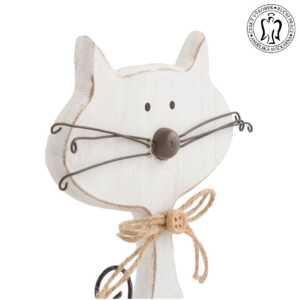 Dřevěná kočka velká bílá - dekorace, Andělská svíčkárna, dekorace Praha, Wooden cat whote, decoration, Prague, Angels candles 03
