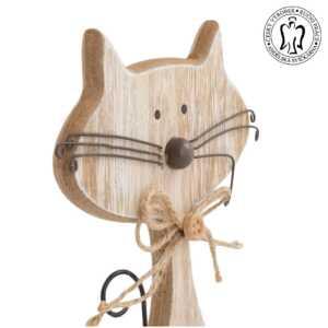 Dřevěná kočka velká natur - dekorace, Andělská svíčkárna, dekorace Praha, Wooden cat natur, decoration, Prague, Angels candles 03